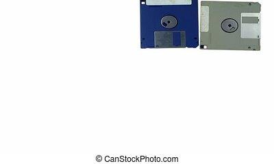 floppy disk over white - old floppy disk stop motion...
