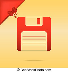 Floppy disk sign. Cristmas design red icon on gold background.
