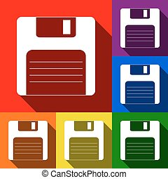 Floppy disk sign. Vector. Set of icons with flat shadows at red, orange, yellow, green, blue and violet background.
