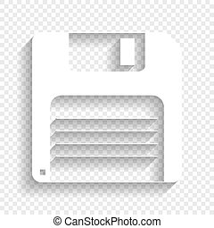 Floppy disk sign. Vector. White icon with soft shadow on transparent background.