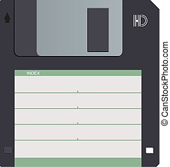 Floppy disk vector - Black magnetic floppy disc. Symbol old...