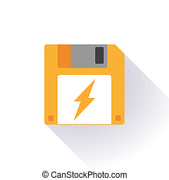 Floppy disk with a lightning - Illustration of an isolated...