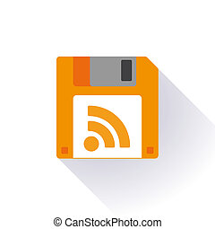 Floppy disk with a rss sign - Illustration of an isolated...