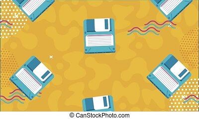 floppy disks in memphis retro style background ,4k video animated