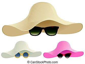 Floppy hats and sunglasses - A selection of floppy hats and...