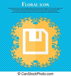 floppy icon. Flat modern design. Floral flat design on a blue abstract background with place for your text. Vector