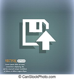 floppy icon. Flat modern design. On the blue-green abstract background with shadow and space for your text. Vector