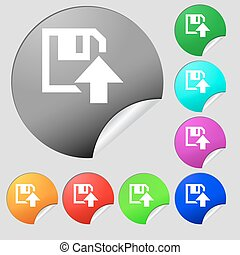 floppy icon. Flat modern design. Set of eight multi colored round buttons, stickers. Vector