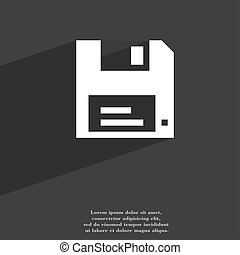 floppy icon symbol Flat modern web design with long shadow and space for your text.