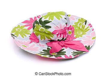 Pink flowered sun hat on a white background, floppy sun hat