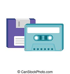 floppy with cassette of nineties retro style