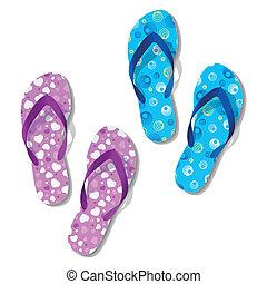 flops., とんぼ返り, sandals.