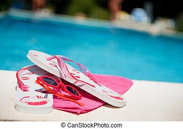 flops, buffetto, stagno, nuoto