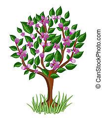flor, árbol, con, brillante, hojas