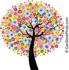 flor, árvore, coloridos