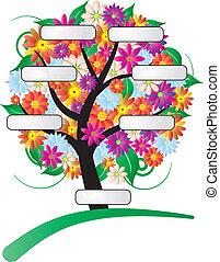 flor, árvore, etiqueta