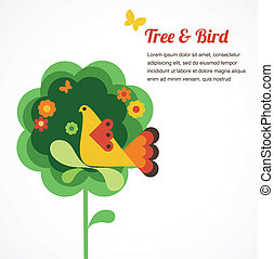 flor, árvore, whimsy, pássaro