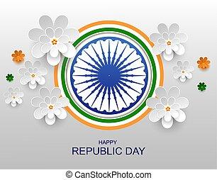 flor, índia, saudação, papel, república, dia, cartão, feliz