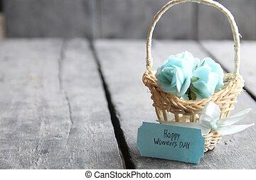 flor, 8., mujeres, marzo, rosas, día, internacional, tarjeta