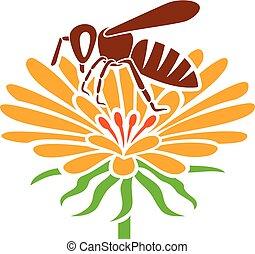 flor, abeja, icono