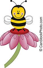 flor, abeja, visitar