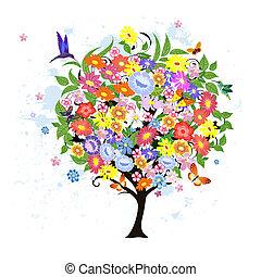 flor, abstratos, árvore, com, pássaros