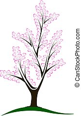 flor, abstratos, árvore