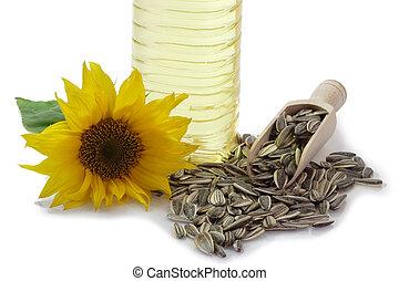 flor, aceite, semillas de girasol