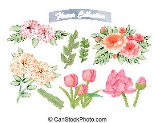 flor, acuarela, elementos