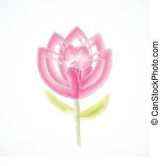 flor, acuarela, vector, logotipo