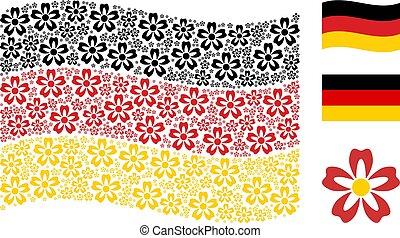 flor, alemão, itens, waving, colagem, bandeira