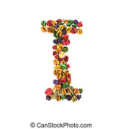 flor, alfabeto, isolado, i, fundo, branca, secado
