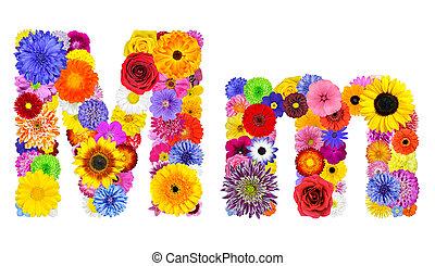 flor, alfabeto, -, m, isolado, letra, branca