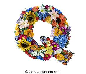 flor, alfabeto, -, q
