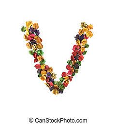 flor, alfabeto, v, isolado, secado, fundo, branca