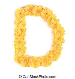 flor, alphabet., d, letra