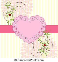 flor, amor, springtime, cartão