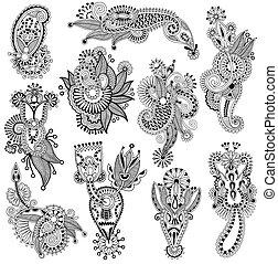 flor, arte, autotrace, ucranio, colección, mano, negro,...
