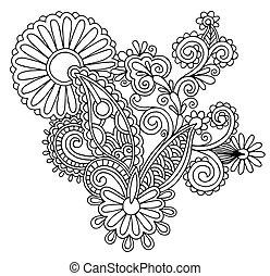 flor, arte, autotrace, ucranio, florido, mano, negro, étnico...