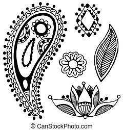 flor, arte, colección, negro, florido, diseño, línea