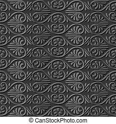 flor, arte, curva, espiral, escuro, forma, ventilador papel, 3d