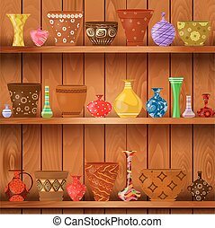 flor, arte, estantes, de madera, ollas, diseño, floreros, su