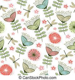 flor, arte, vendimia, seamless, patrón, línea