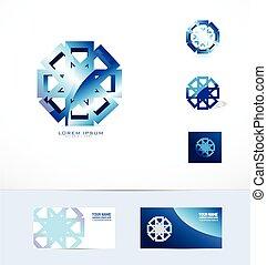 flor azul, abstratos, metal, logotipo, ícone
