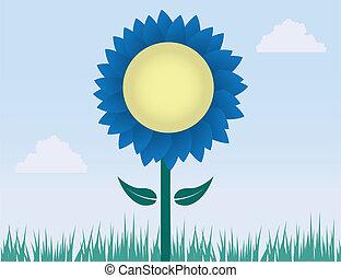 flor azul, con, pasto o césped