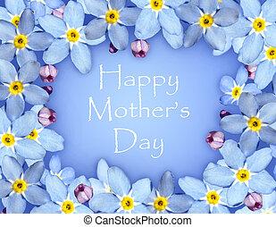 flor azul, dia, cartão, mães