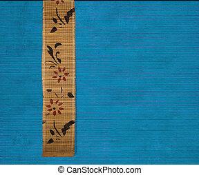 flor azul, guarnecido suportes, madeira, fundo, bambu, bandeira