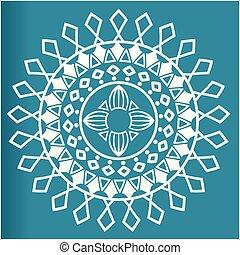 flor azul, imagem, vetorial, fundo, branca, mandala