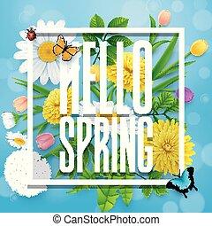 flor azul, insetos, primavera, céu, fundo, olá