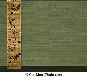 flor, bambú, bandera, en, aceituna, acanalado, madera, plano...